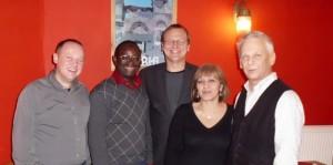 Politischer Stammtisch 2012 (v.l. Burkhard Feißel, Dr. Karamba Diaby, Bodo Bastian, Satenik Roth, Erhard Koppitz)