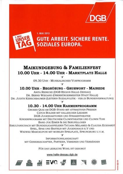 Plakat 1 Mai Halle